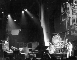 """ELP I need somebody...."" Emerson Lake and Palmer on stage in 1973"