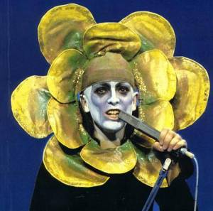 """Flower Power - Peter Gabriel in the costume he used to wear for """"Supper's Ready"""" from Foxtrot, taken from a show in 72/73"""