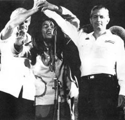 Marley unites Michael Manley and Edward Seaga at the One Love Peace Concert