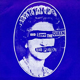 """The excellent Jamie Reid cover art for the Pistols """"God Save The Queen"""""""