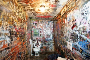The CBGB bathroom/ toilet, moderately better than most festival toilet facilities
