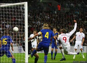 Crouchy scores one of England's goals last night in the World Cup Qualifier against Ukraine