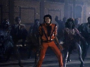 A still from the Zombie dance in the Thriller video