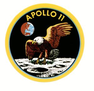 The crew of Apollo 11 chose this, did you notice that the Eagle that represents America carries an olive branch representing peace?