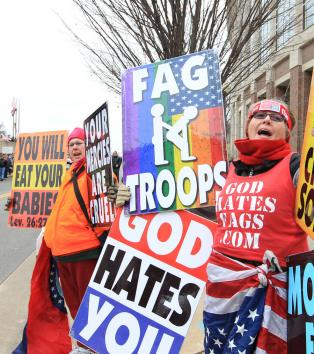 If God exists I suspect he would carry a placard that says GOD HATES THE WESTBORO BAPTIST CHURCH!