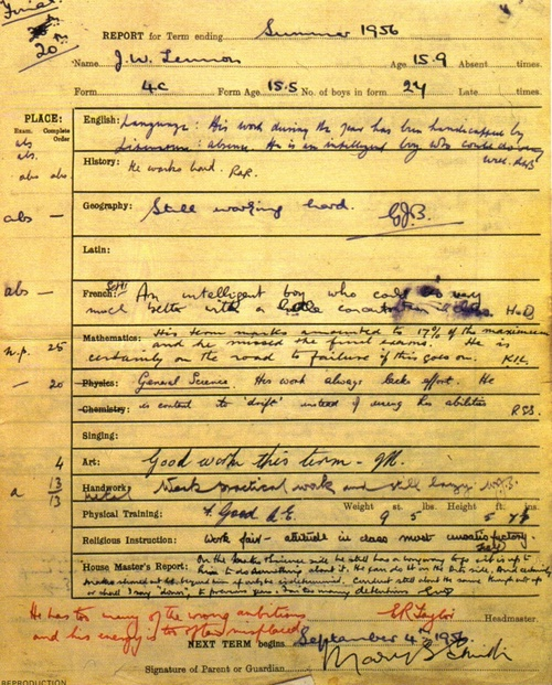 Lennon's school report