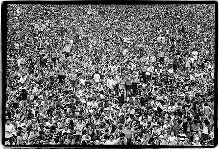 The crowd at Woodstock, August 1969.