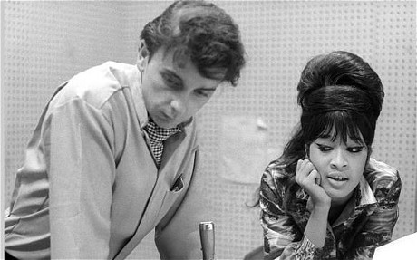 Photo of Phil SPECTOR...UNITED STATES - JANUARY 01: GOLD STAR STUDIOS Photo of Phil SPECTOR, w/Ronnie Bennett of the Ronettes (Photo by Ray Avery/Redferns)