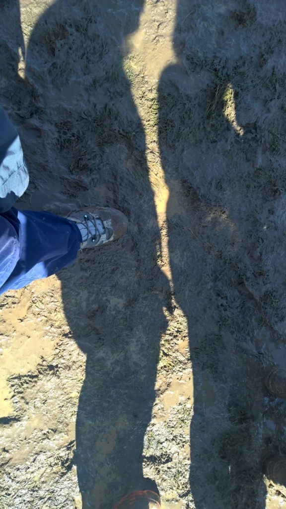 My muddy boot, but is that the shadow of a naked man?